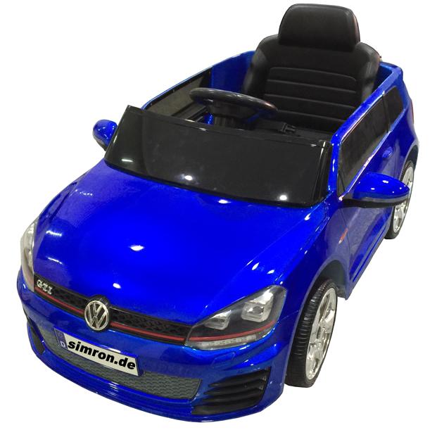vw golf gti kinderauto kinderfahrzeug kinder elektroauto 2 motoren metallic blau. Black Bedroom Furniture Sets. Home Design Ideas